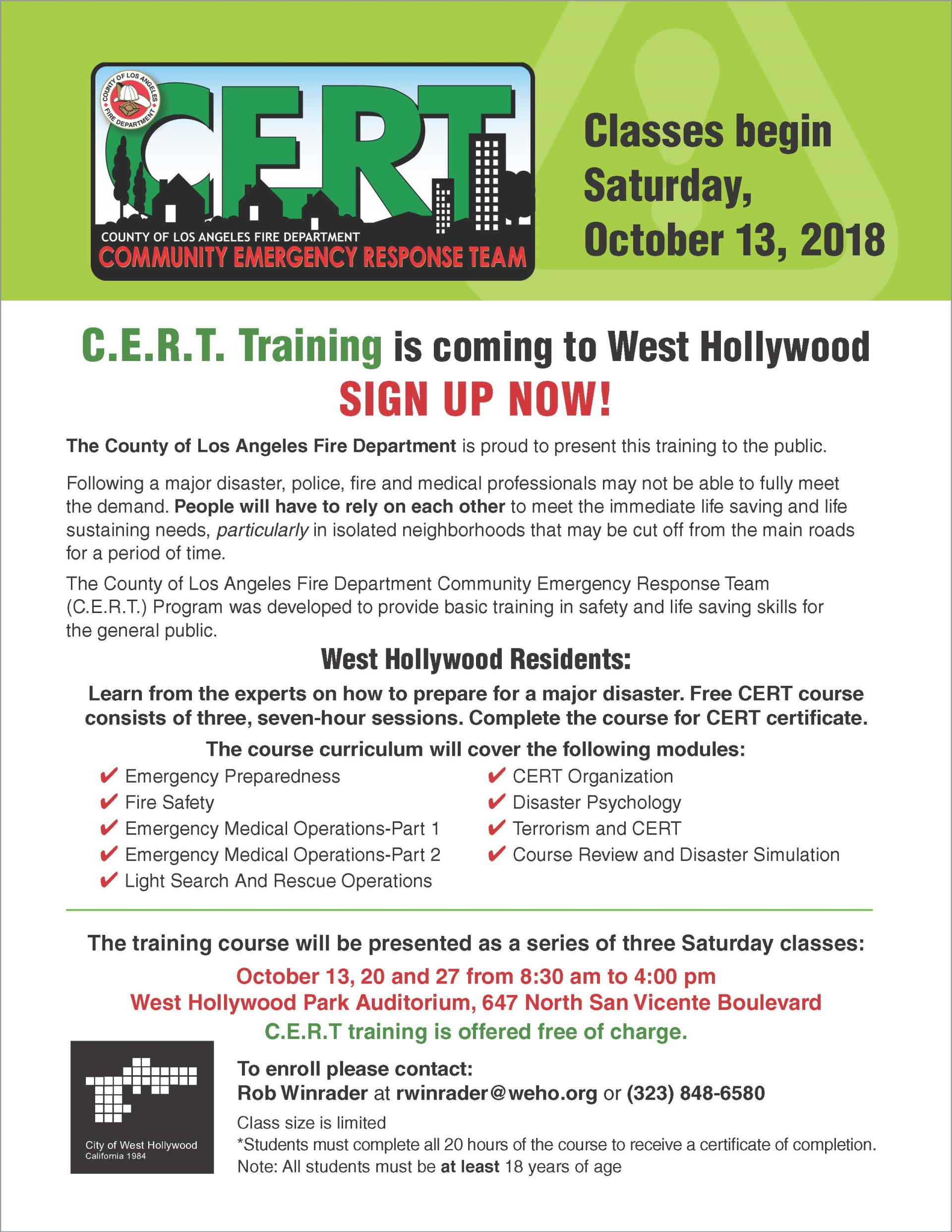 October 2018 CERT Class Flyer