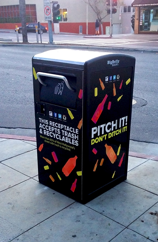 West Hollywood Installs Bigbelly Solar-Powered Compacting Waste/Recycling Bins