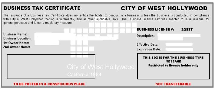 Business Tax | City of West Hollywood