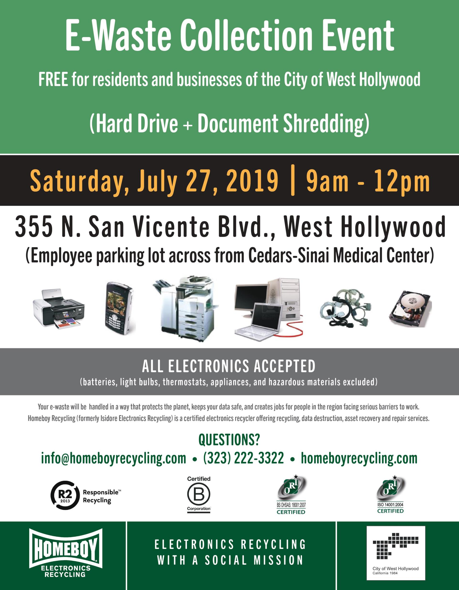 Document Shredding and E-Waste Collection | City of West
