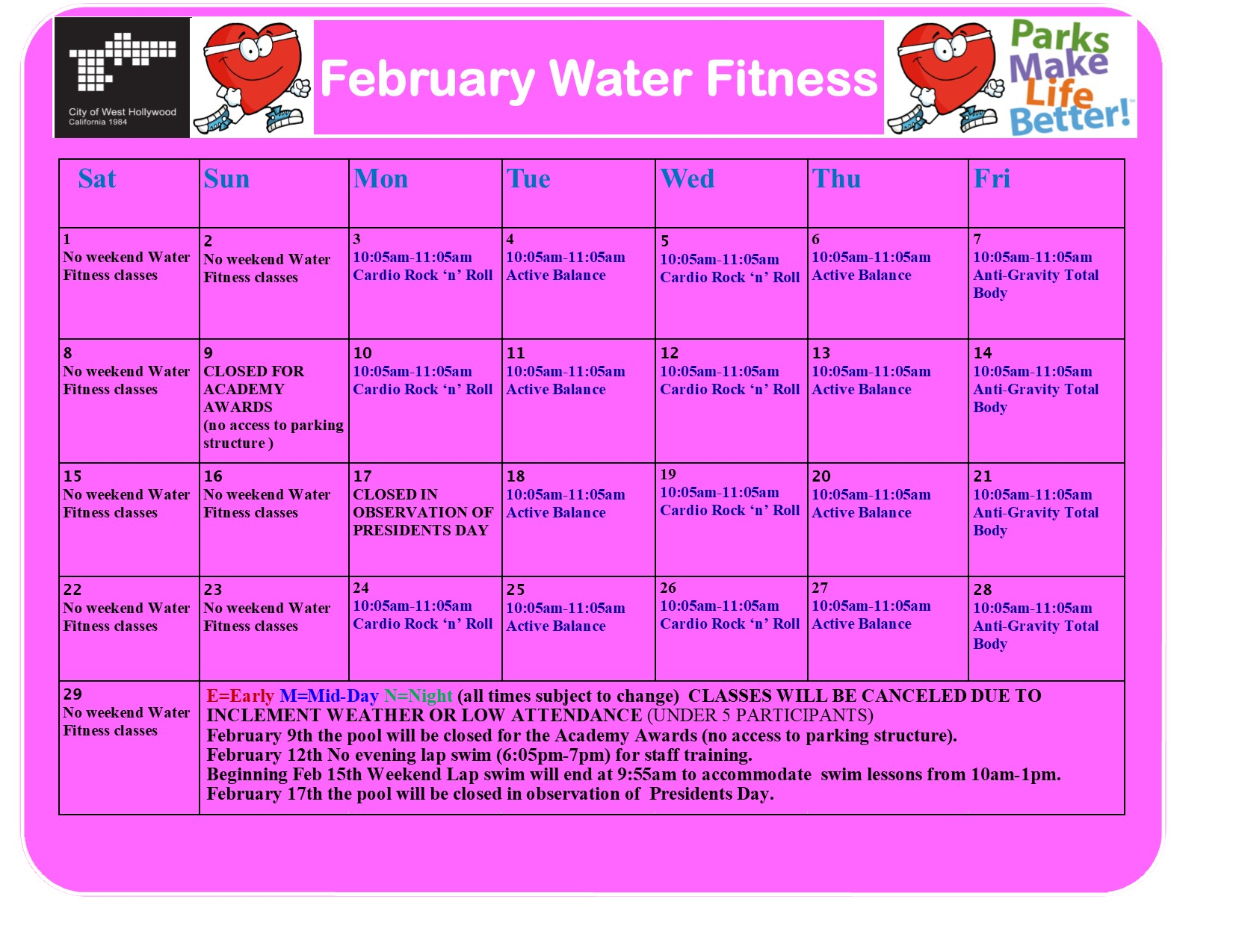 feb 2020 water fitness