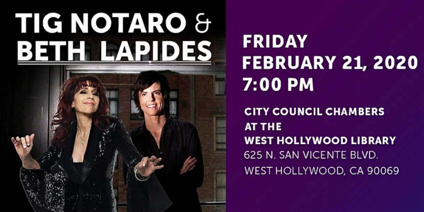 City's Lesbian Speakers Series Presents Tig Notaro in Conversation with Beth Lapides