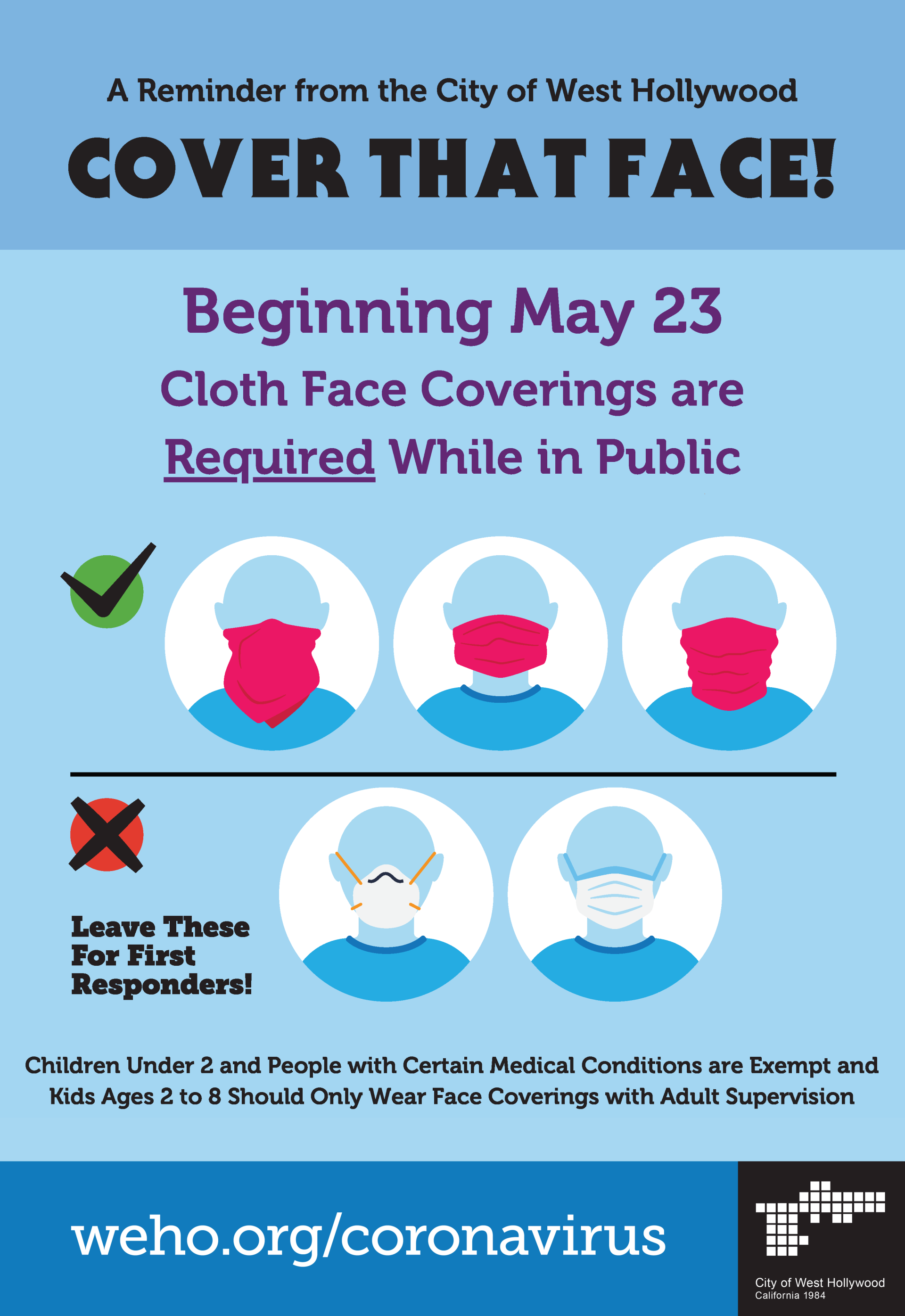 City Of West Hollywood Order Requires People To Wear A Cloth Face Covering While In Public Starting May 23 News Detail City Of West Hollywood